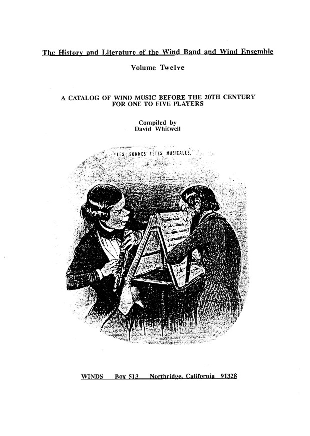 Vol. 12: Catalogue of Wind Music Before the 20th Century for one to five Players, A - click here