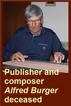2019-09-13 Publisher and composer Alfred Burger died - click here